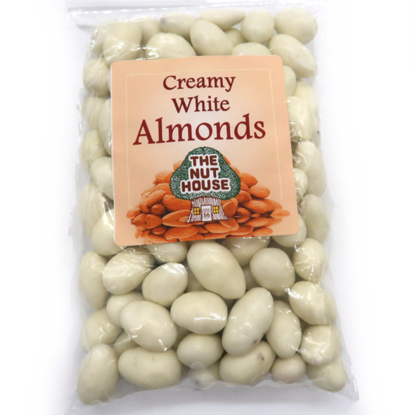 Almonds covered in a creamy white chocolate coating.