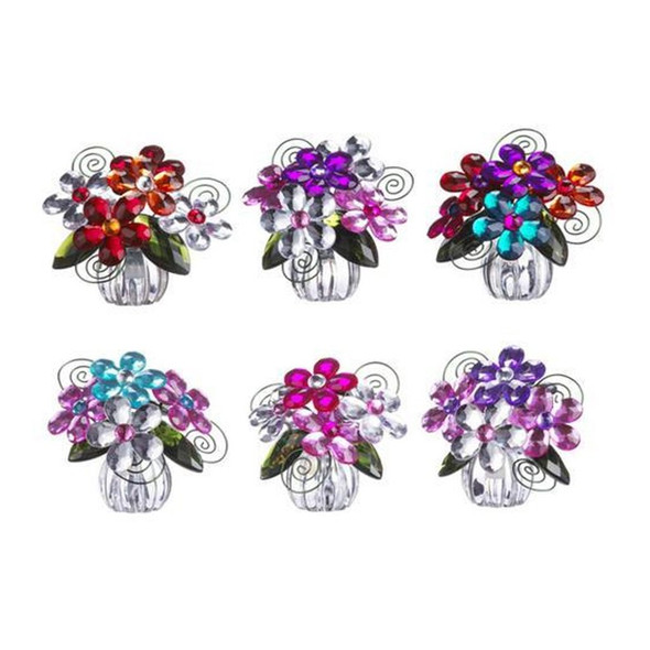 "Flower posy pots come in six assorted designs.  Sold individually.  Dimensions: 21/2"" H"