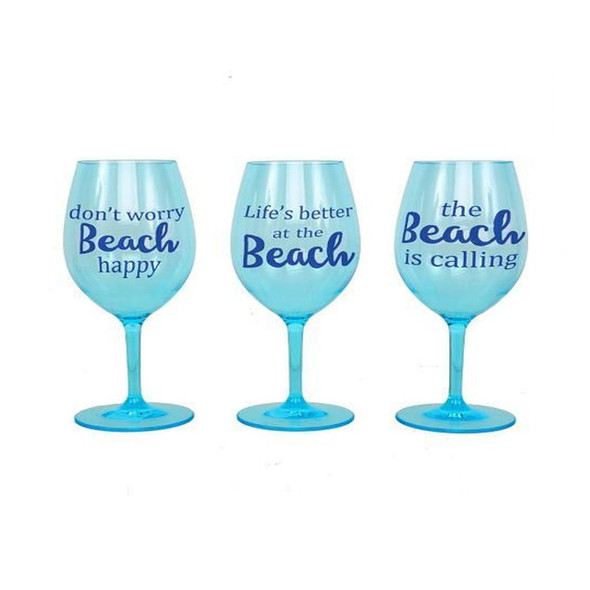 <p>These shatterproof wine glasses are perfect for the beach or boat! Acrylic stemmed wine glasses feature beach sentiments and a blue palette. BPA free. Handwash recommended. 3 assorted styles. Sold Individually.</p>