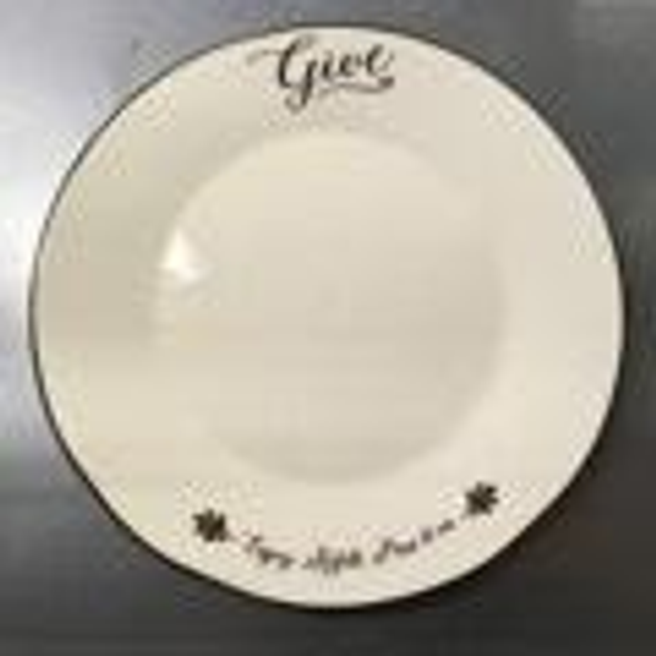 "Big cream colored plate is perfect for piling on cookies, cakes, and holiday goodies., and meant to be left at the holiday host's home so the giving can be continued.  ""Enjoy, refill, pass it on"" script on plate bottom with brown rim."
