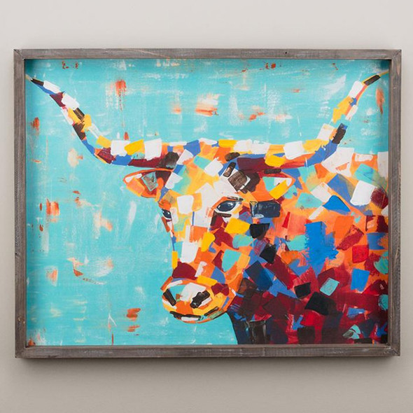 """This colorful Longhorn animal canvas brightens any wall or shelf in your home and makes a great gift! Measures 24"""" x 30"""""""