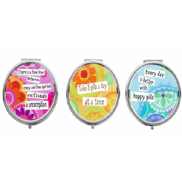 These three assorted pill boxes come in your choice of hilarious, but terrible advice.  Sold individually.