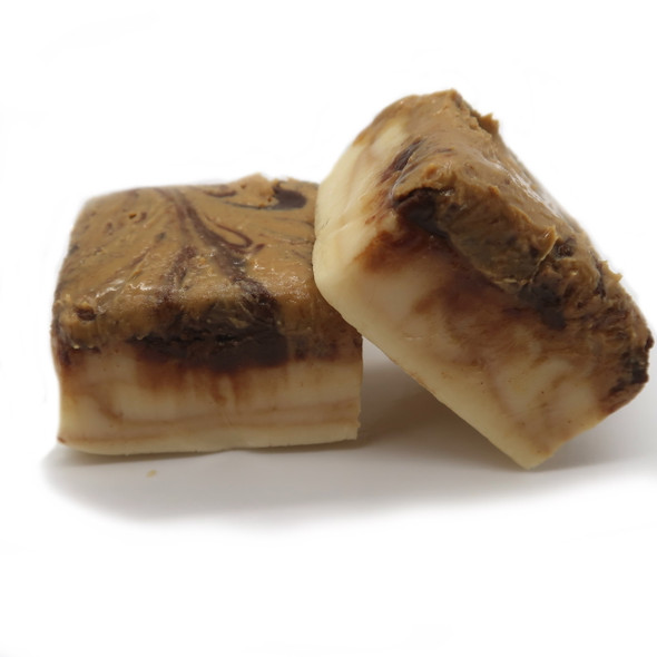 Peanut butter sandwiched between two layers of decadent creamy vanilla fudge, with a swirl of chocolate on top. Gluten Free