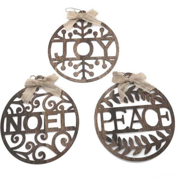 Wood Cut Peace Joy Noel Ornaments Set/3