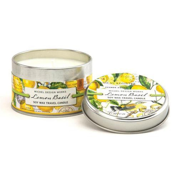 These handy lightweight candles move easily from room to room - and outdoors to a deck or patio too. Made of soy wax for clean burning. DETAILS 4 oz./113.4 g. Over 20 hrs. approximate burn time. SCENT Citrus notes of lemon and mandarin enhanced with green basil leaf
