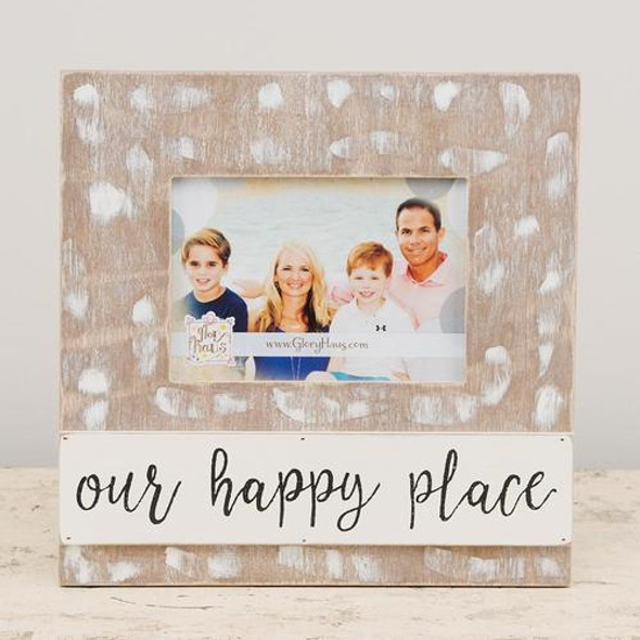 """This """"Our Happy Place"""" frame beautifully portrays a 5x7 photo."""