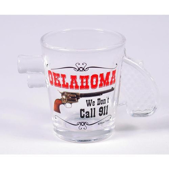 Drink your shot's Oklahoma style in a shot glass with a handle! We don't call 911!