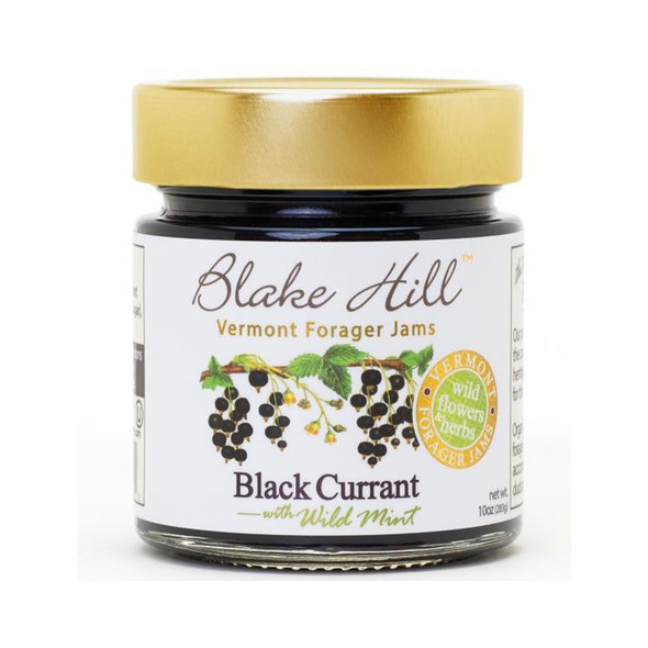 Organic black currants from High Goose Farm in Dover Vermont are infused with wild mint harvested from meadows in our home village of Grafton by Blake Hill's Forager to create a luscious jam capturing the uniquely tart, fruity flavors of classic black currants.