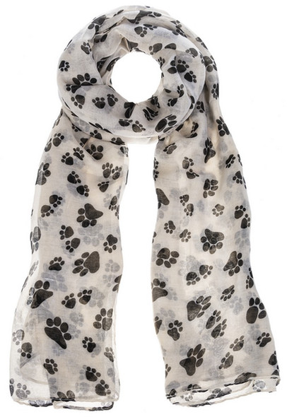 Ivory and black poly scarf with paw prints is the perfect gift for any animal lover.