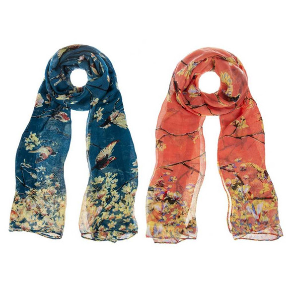 Birds and Blooms Chiffon Scarf Scarves & Shawls The Nut House