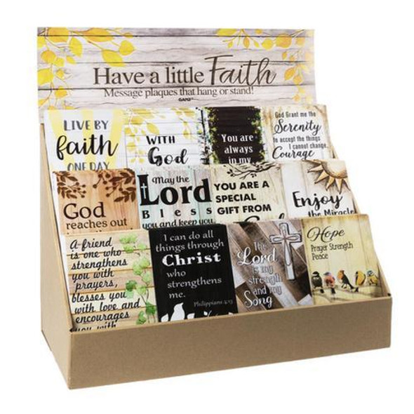 """Have a Little Faith Plaques in Display (36 pc. ppk.) Each comes with dowel to stand. Dimensions: 4"""" W. x 1/4"""" D. x 6"""" H."""