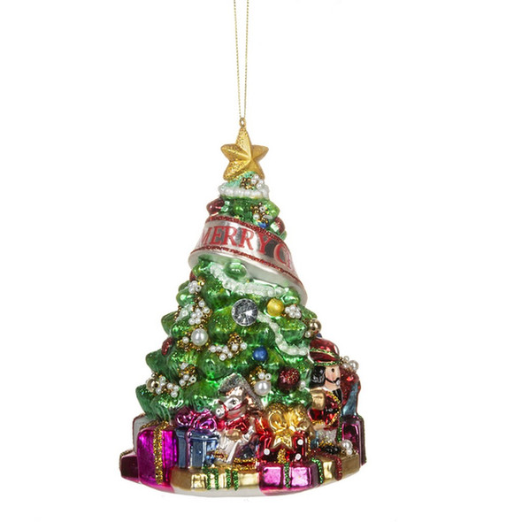 """Detailed glass tree ornament with presents underneath and """"Merry Christmas"""" banner. 4.5"""" L. x 4.5"""" W. x 6.5"""" H."""