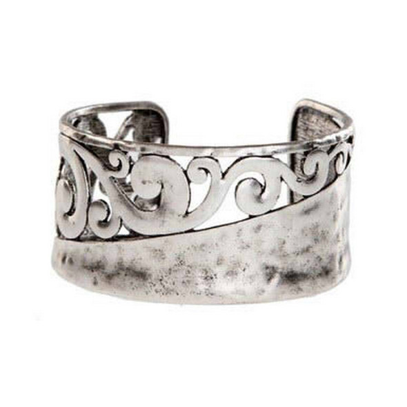 Antique Silver Hammered Bracelet
