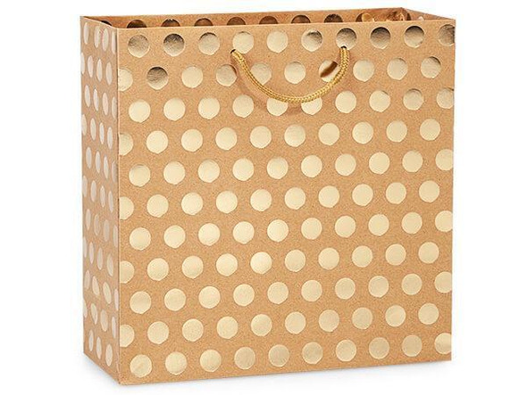Gold Polka Dots on Kraft Gift Bags, Filly 12x5x12""