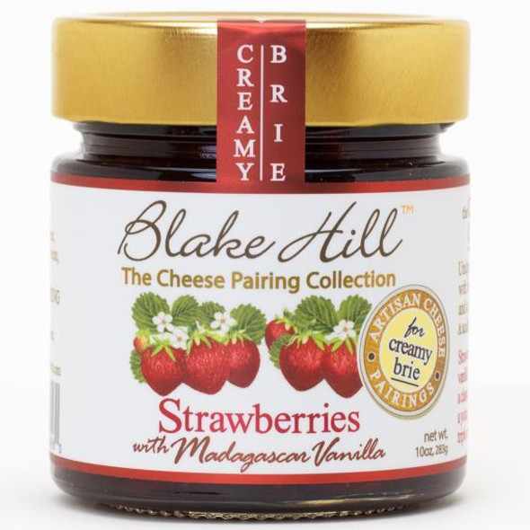 NEW Perfectly ripe, full flavored, strawberries are infused with pure madagascar vanilla bean to create a deliciously sweet strawberry jam.  A new Blake Hill variety and already a customer favorite! An Extra Fruit Preserve, with 20% less added sugar than the standard jam. NON GMO.     KOSHER.     NATURALLY PRESERVING THE TASTE OF SUMMER.
