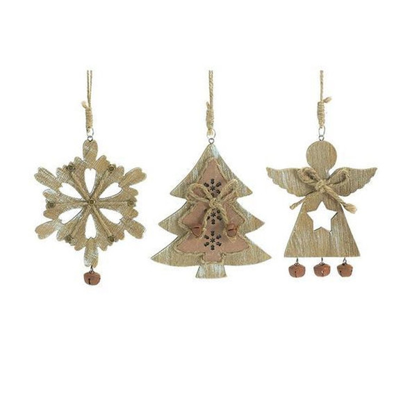 """Wood shape ornament assortment. Choice of one ornament. Wood ornaments with rustic bells and jute rope. Angel, snowflake, and tree designs that are light hand-painted whitewashed brush strokes.  Choose between one of three assorted designs! Angel: 4 1/2""""H X 4""""W X 1/4""""D Snowflake: 5"""" X 4 1/4""""W X 1/4""""D Tree: 4 3/4""""H X 4 1/4""""W X 1/4""""D"""