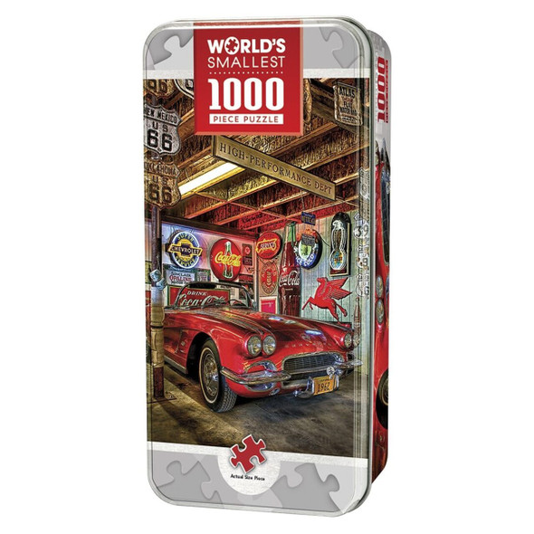 """World's Smallest 1000pc Puzzle is designed for both entertainment and ergonomics. Comes in a compact 4"""" x 8"""" collectible tin box, this puzzle will fit anywhere! It features a delicious red, vintage sports car, ready to hit the road! To reduce its impact on our environment, the chipboard used in this puzzle is made of recycled material."""