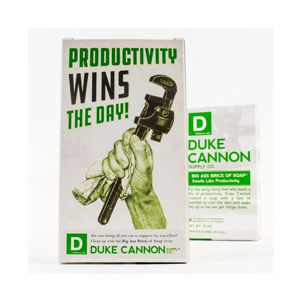 "For the early rising man who leads a life of productivity, Duke Cannon created a soap with a hint of menthol to cool the skin and wake him up so he can get things done. This superior grade bar soap has a fresh mint smell and contains steel cut grains for maximum grip. Like all Duke Cannon Big Ass Bricks of Soap, this brick weighs in at a hefty 10 oz. and lasts longer than the dainty soaps your mom uses.  To honor the military heritage of our Big Ass Bricks of Soap, this particular item comes in our limited edition WWII-era propaganda package, reminding you that ""Productivity Wins the Day.""  Smells Like Productivity (fresh, energizing mint). 1 10 oz. brick, or save with 3, 6, or 24-pack."