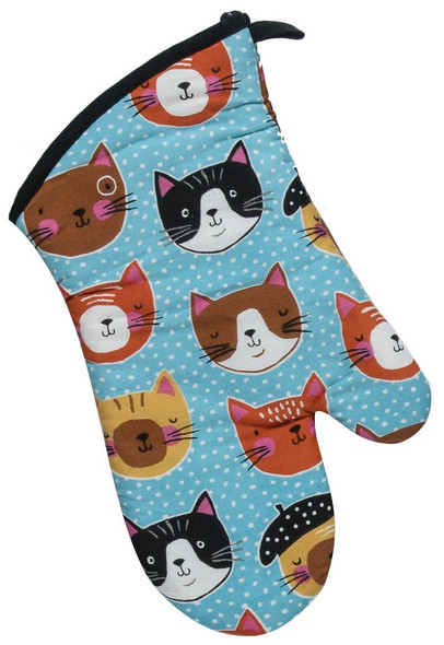 What's better than one cat? Lots of cats! Printed with adorable feline faces designed by artist Suzanne Nicoll, this durable oven mitt is 100% cotton & offers heat protection to 200 degrees. 13 in, machine washable.