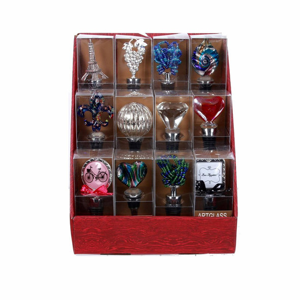 The perfect gift for any wine lover! Metal bottle stopper features assorted elegant designs in a variety of materials. Each bottle stopper is packed in an acetate box. Packed 12 to a PDQ displayer.