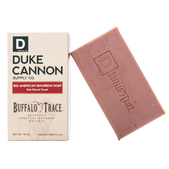 In the early days of the American Frontier, rugged pioneers indulged with a dry buffalo steak and a pull of whiskey, not $12 appletini and plate of bruschetta. Duke Cannon honors that independent, pioneering spirit by partnering with Buffalo Trace Distillery to add their award-winning Kentucky Straight Bourbon Whiskey to this Big American Bourbon Soap. Weighing in at a full 10 oz., this large, American-made soap has a rich, oak barrel scent that smells as good as bourbon tastes. Product Features:  - The unique, oak barrel scent is masculine and outstanding, but not overpowering - Yes, we really put delicious Buffalo Trace Bourbon in the soap - Does Bourbon benefit the skin? We have no idea, but bourbon tends to make everything better, so why not?