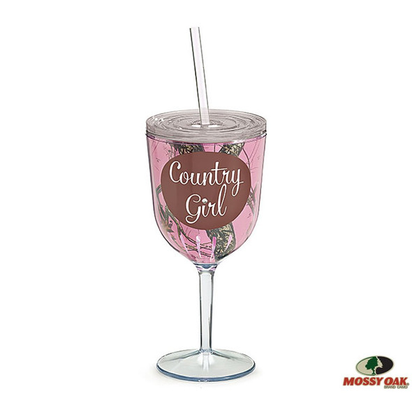 """Plastic and insulated wine tumbler in pink Mossy Oak camouflage pattern and """"Country Girl"""" in brown circle. 8 1/4""""H X 3 1/4"""" Opening Holds 12oz. Height with straw: 11 1/2""""H Handwash only/FDA approved"""