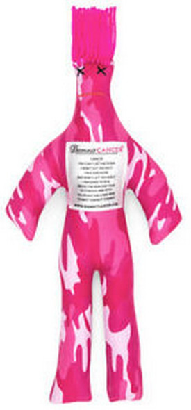 """Dammit Doll reads: """"Cancer.  You can't get me down.  I won't let you do it.  I'm a survivor.  And won't let you win it.  I am going to rise.  Above the pain and fear.  Victorious and wise.  You're not welcome here.  Dammit!  Dammit!  Dammit!""""  Roughly 12 inches tall."""