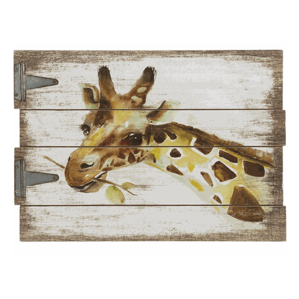 """Giraffe Hinged Plaque Hook for hanging. Dimensions: 15 3/4"""" W. x 11"""" H."""