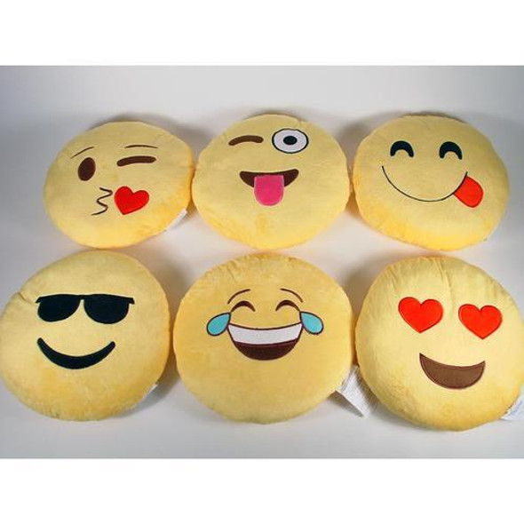 Plush emoji pillow comes in six assorted designs.  Each sold individually.