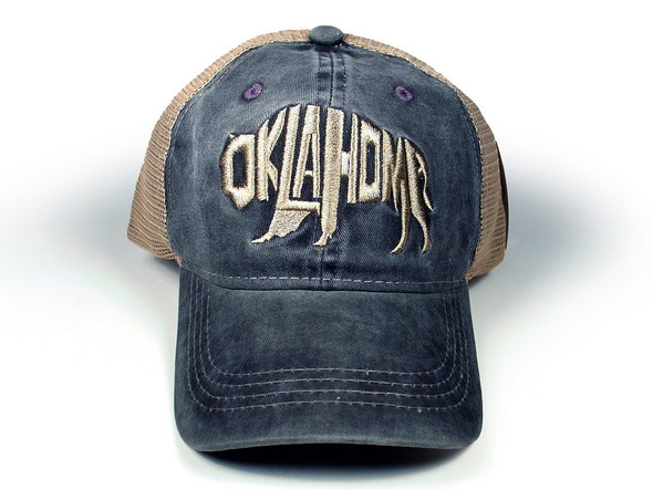 Denim washed cap with winged RT 66 shield in a weathered wine color.