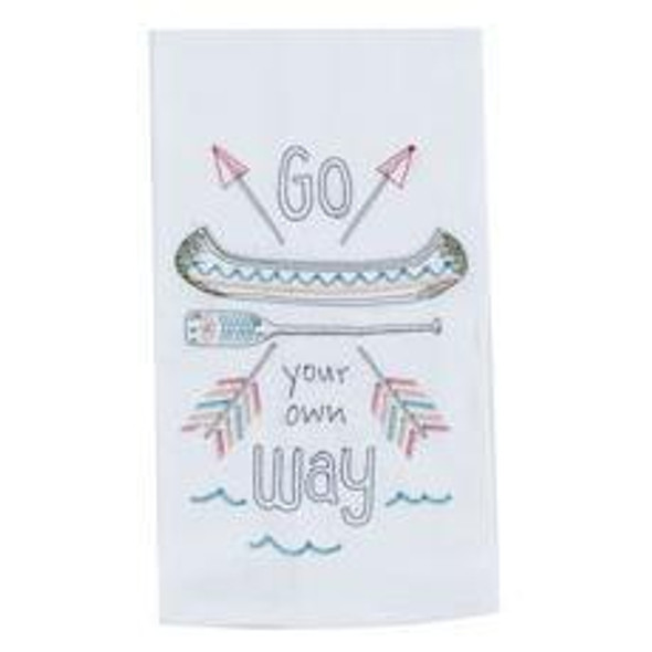 Your Own Way Embroidered Flour Sack Towel