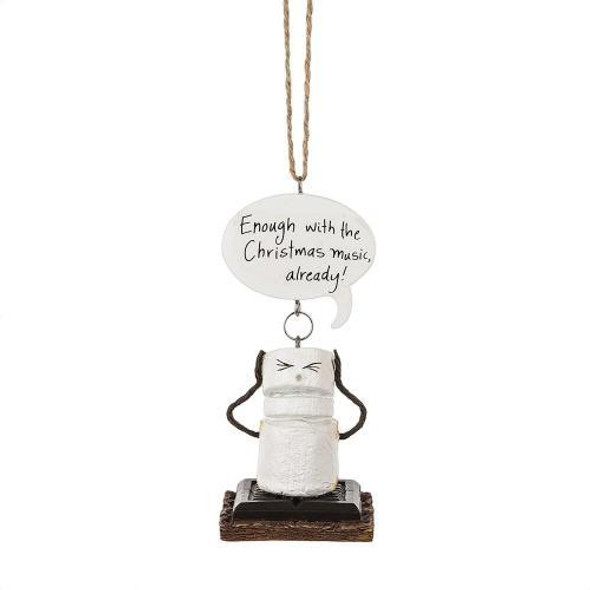 """Toasted S'mores """"Enough with the Christmas Music, Already! Ornament. Who can't sympathize with this funny little fellow as he tries to cover his ears with twig arms. Hangs 7"""". Ornament is 3 1/2 """" tall Enough with the Christmas Music, Already! Dimensions: 1.875"""" L. x 1.75"""" W. x 3.875"""" H. x 0.154 lb. w"""