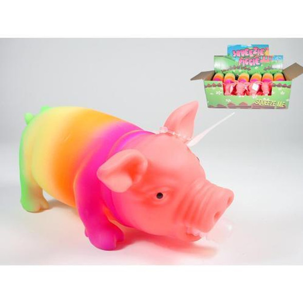 A subtle grunty noise comes when you squeeze this festively colored rainbow pig. A great present for kids. Nowhere near as annoying as many other noisy toys.