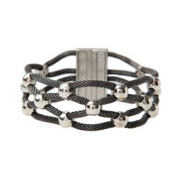 Hematite Silver Bead Woven Thin Magnetic Clasp Bracelet
