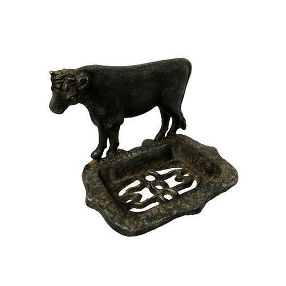 Trade out boring bathroom decor for lovely decor that adds character! Cow Cast Iron Soap Dish features a brown cast iron holder with rust colored accents and a cute cow shape.