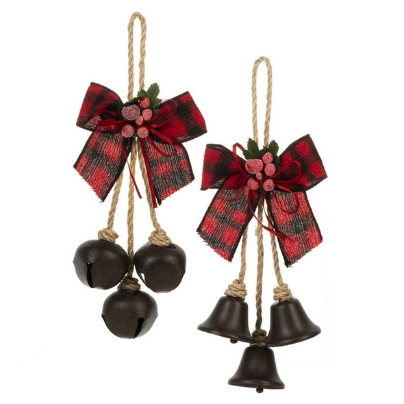 "Bell Swag Ornament 3.5""L. x 2.5""W. x 11""H. Choose traditional cloche shaped bell or round jingle bell. Both have fabric Buffalo check in red and black with holly berry trim."