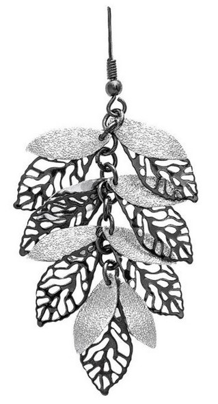 Shiny Silver Sparkle and Filigree Hematite Small Leaves Bunch French Wire Earring