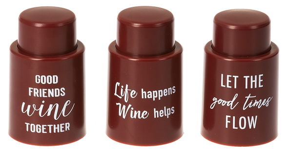 Reuseable vacuum bottle seal with witty sayings.  Each sold individually.