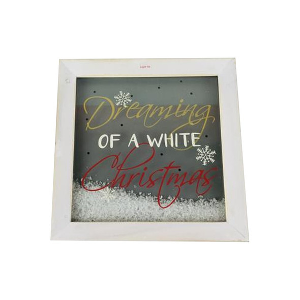"10"" sq 2lbs ""DREAMING OF A WHITE CHRISTMAS"" wood shadowbox frame with glass and ""snow"""