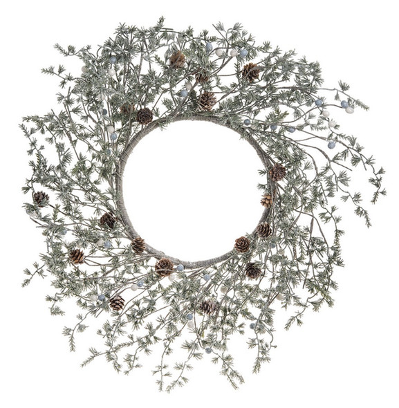 """Delicately glittered wreath with small needled pine and mini cones  23/4"""" H. x 23"""" Dia"""