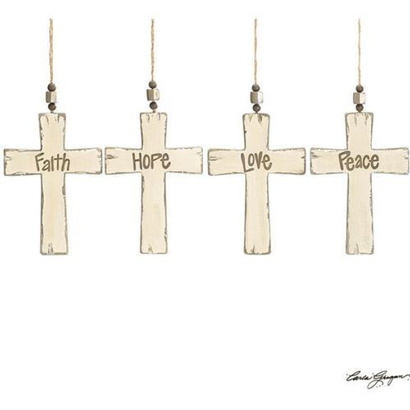 """Rustic wood cross ornament assortment. Cream with wood burned words: Hope, Love, Peace, and Faith with distressed edges. Hand-painted wood. 7 1/4""""H X 5""""W, 11 3/4"""" tall.  Each is sold individually."""