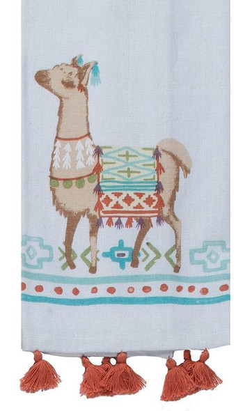 Printed with an adorable momma llama, this towel is great for drying dishes & stemware! Another popular use is to keep baked goods warm before serving. Cute fringe detail completes the look. Machine washable. 16 in x 26 in, 100% cotton with loop for displaying when not in use.