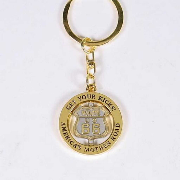 Route 66 Round Spinner Key Ring Keychains & Keyrings The Nut House