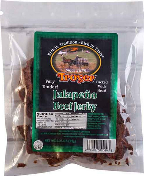"Homestyle Jalapeno Jerky is hand-carved for the best flavor and then thoroughly marinated. The special recipe blend of herbs and spices that creates that ""Wow"" factor."