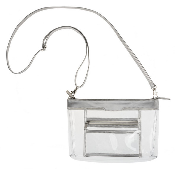 """Stadium Style Shoulder Bag w/ inside pocket; straps attach w/lobster clasps. Convertible and adjustable. Additional Sizing: 55"""" L. Strap Color: Silver, Clear Dimensions: 6"""" H. x 91/2"""" W. x 3"""" D."""