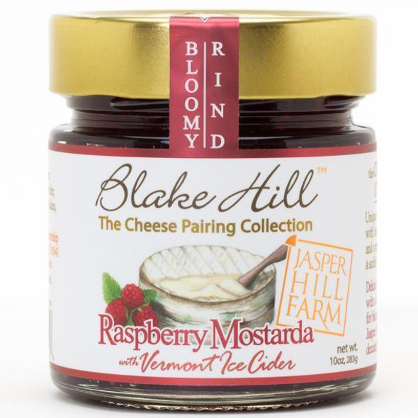"""Created with award-winning cheese makers Jasper Hill Farm, our """"Raspberry Mostarda with Vermont Heirloom Apple Ice Cider"""" highlights the raspberry notes in bloomy rind cheese varieties, especially a young Harbison, and the decadent, luscious texture of this Mostarda is a perfect complement to the suppleness of this renowned Jasper Hill variety. NON GMO.    KOSHER.     PERFECT CHEESE PAIRINGS."""