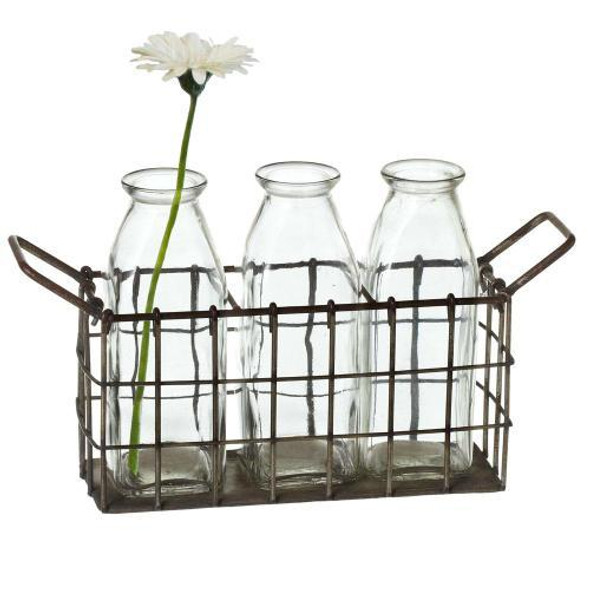 """Triple Bottle Vase in Wire Tray. Decorative use only.,Water tight. Glass Dimensions: 10.875"""" L. x 3.125"""" W. x 5.5"""" H. x 1.020 lb. w"""