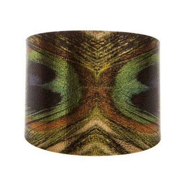 Gold Green Realistic Printed Peacock Feather Bracelet