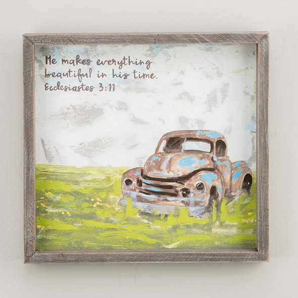 "This rustic framed canvas is a sweet reminder of the beauty of life! Complement your kitchen, living room or any wall in your house! Measures 12"" x 12"""