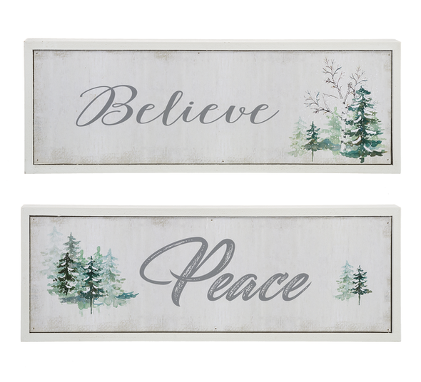 """Delicate shades of gray, sage, and green echo the serene sentiments of the season. Choose """"Believe"""" or """"Peace"""" 11 7/8""""W. x 1 1/8""""D. x 4 1/8""""H"""